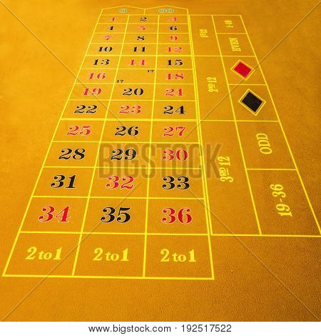 Table in gambling casino, yellow background, figures