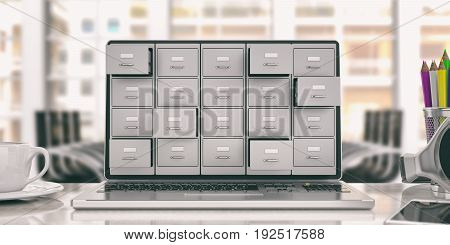 Laptop Data Storage. Filing Cabinet On A Laptop Screen. 3D Illustration