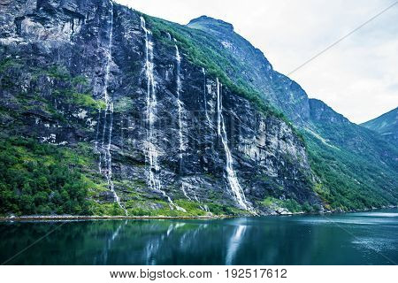 Geiranger fjord landscape, Norway - waterfalls Seven Sisters.