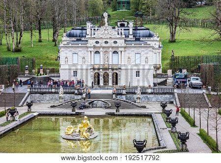 Linderhof, Bavaria - June 23, 2017: Linderhof Palace in Germany, Bavaria