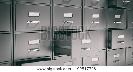 Filing Cabinets And Open Drawers. 3D Illustration