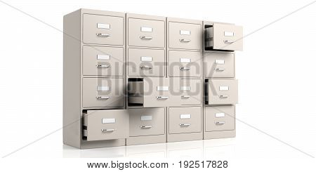 Filing Cabinets On White Background. 3D Illustration
