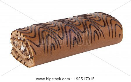 Striped Swiss Roll Isolated On White