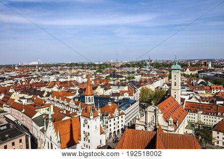 Munich scenic aerial panorama of the Old Town architecture, Bavaria, Germany
