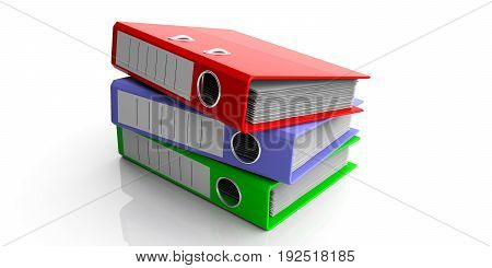 Office Folders Stacked On White Background. 3D Illustration