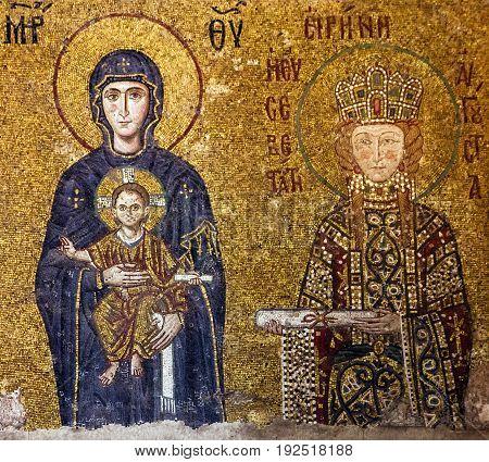 Istanbul, Turkey - May 23, 2017: Christian Icon of Virgin Mary and Saint Irina in Hagia Sophia in Istanbul