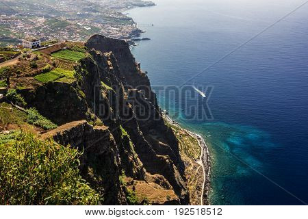 Madeira island, Portugal. Landscape on the Southern Coast Cabo Girao, Atlantic Ocean