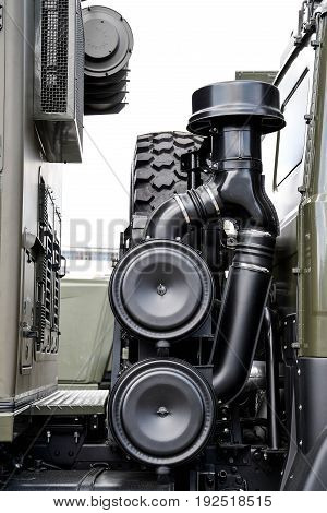 Air intake detail in a Russian military vehicle close up