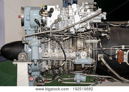 Piece of equipment of the aircraft engine close up