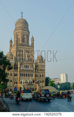 Mumbai, India - January 1, 2012: The Brihanmumbai Municipal Corporation (BMC) Building Mumbai