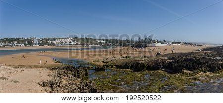 Panorama Of Beach Oualidia Lagoon In Same Name Village In Atlantic Ocean Coast, Morocco
