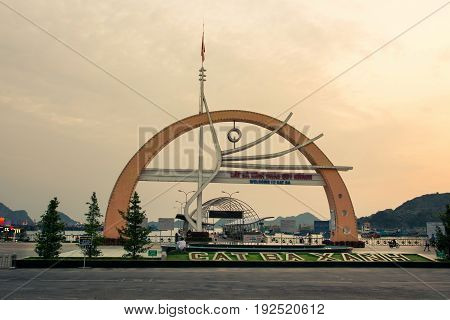 Cat Ba, Vietnam - May 25, 2017: Cat Ba Island Port Entrance Gate In The Island Central Tourist Area