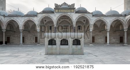 Facade of Suleymaniye Mosque an Ottoman imperial mosque located on the Third Hill of Istanbul Turkey and the second largest mosque in the city. built in 1557