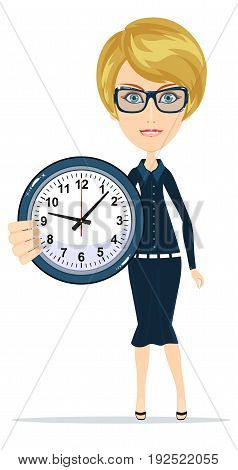 Woman character Holding Clock. Time management concept. Isolated on white background. Stock vector illustration