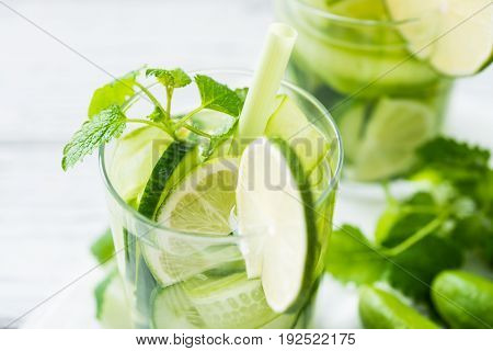 Refreshing Drink With Cucumber, Lime, Mint. Close Up