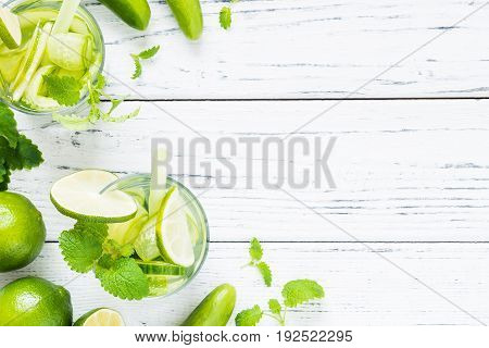 Refreshing Drink With Cucumber, Lime, Mint. Top View, Copy Space