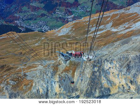 Mt. Titlis, Switzerland - 12 October, 2015: the Rotair cable car. Rotair gondolas make a 360 degrees turn during a five-minutes trip. Titlis is a mountain, located on the border between the Swiss cantons of Obwalden and Bern.