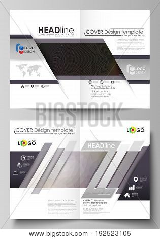 Business templates for bi fold brochure, magazine, flyer, booklet or annual report. Cover design template, easy editable vector, abstract flat layout in A4 size. Dark color triangles and colorful circles. Abstract polygonal style modern background.