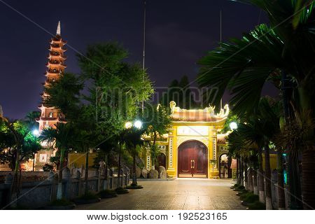Hanoi, Vietnam - May 22, 2017: Tran Quoc Pagoda, The Oldest Buddhist Temple In Hanoi, Located On A S
