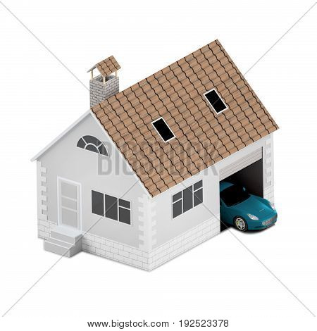 Insurance home house life car protection. Buying house and car for family icon. Protect people Concepts. 3D illustration.