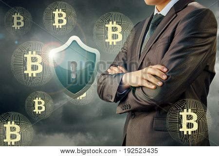 Businessman Protective Shield And Bitcoin .