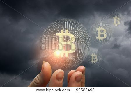 Bitcoin In The Hand .