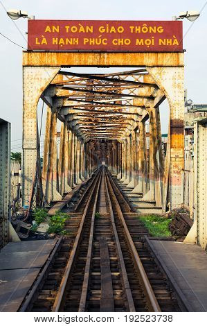 Hanoi, Vietnam - May 24, 2017: Hanoi Long Bien Bridge With Train Rail Which Connects Two Parts Of Th