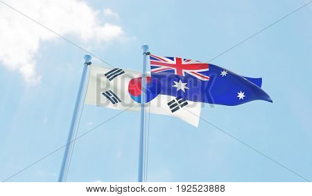Republic of Korea and Australia, two flags waving against blue sky. 3d image