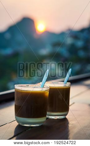 Coffee For Two With Romantic Sunset