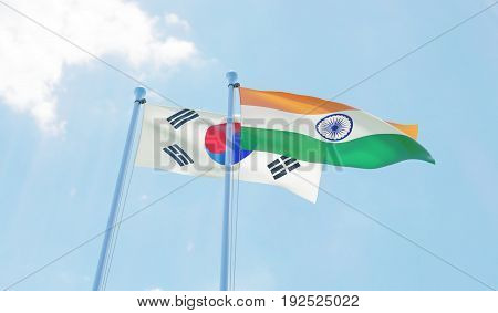 Republic of Korea and India, two flags waving against blue sky. 3d image