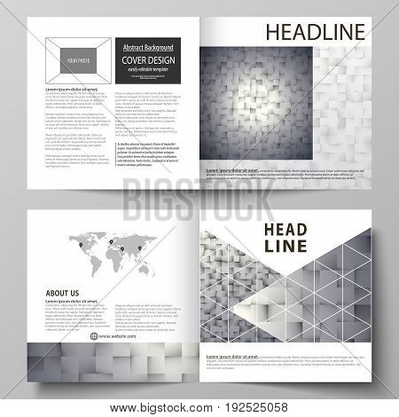 Business templates for square design bi fold brochure, magazine, flyer, booklet or annual report. Leaflet cover, abstract flat layout, easy editable vector. Pattern made from squares, gray background in geometrical style. Simple texture.
