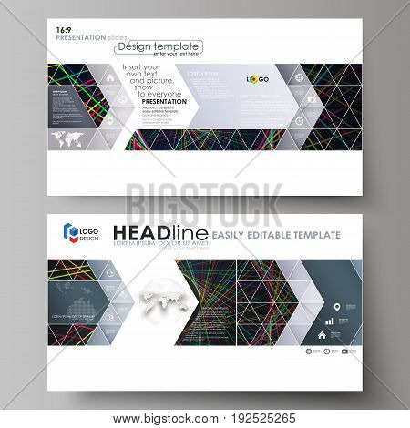 Business templates in HD format for presentation slides. Easy editable abstract vector layouts in flat design. Bright color lines, colorful beautiful background. Perfect decoration
