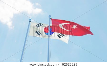 Republic of Korea and Turkey, two flags waving against blue sky. 3d image