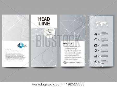 Flyers set, modern banners. Business templates. Cover design template, easy editable abstract vector layouts. Chemistry pattern, connecting lines and dots, molecule structure, scientific medical DNA research.