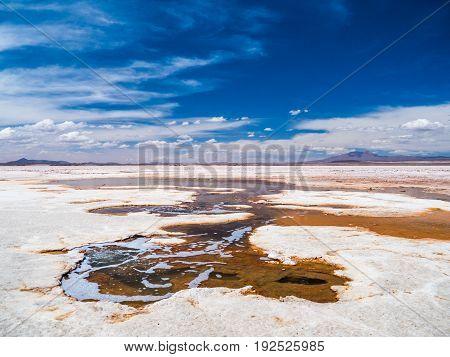 Mineral Springs in Salar de Uyuni bolivia - the largest Salt flat in the world