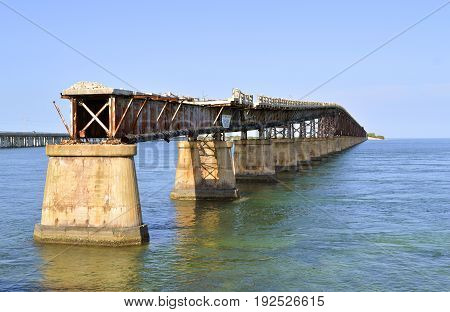 Bahia Honda Key Florida Keys Florida USA - May 15 2017 : Bahia Honda road and Rail Bridge an abandoned bridge in the lower Florida Keys