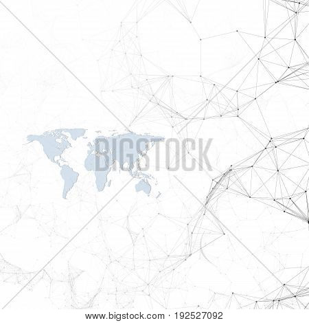 Chemistry pattern, blue world map, connecting lines and dots, molecule structure on white. Scientific medical DNA research. Medicine, science, technology concept. Geometric design abstract background