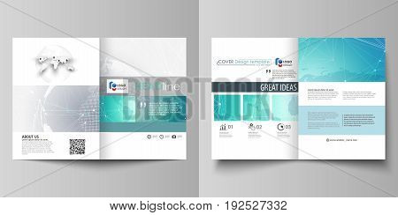 The minimalistic vector illustration of the editable layout of two A4 format modern covers design templates for brochure, flyer, report. Chemistry pattern. Molecule structure. Medical, science background.