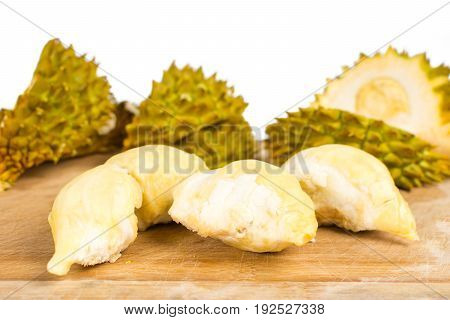 Peeled Durian  Fruit With Peel