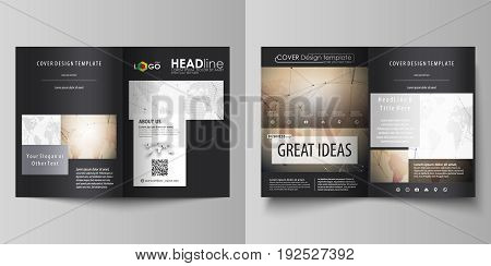 The black colored vector illustration of the editable layout of two A4 format modern covers design templates for brochure, flyer, booklet. Global network connections, technology background with world map.