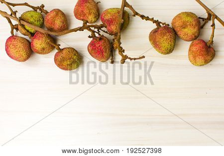 Lychee Tropical Fruit On Wooden Table