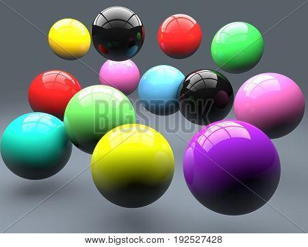 Polymer balls. Colorful balls sphere. Falling balls.