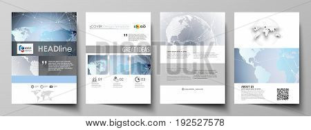 The vector illustration of the editable layout of A4 format covers design templates for brochure, magazine, flyer, booklet, report. Technology concept. Molecule structure, connecting background