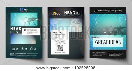 The black colored vector illustration of the editable layout of A4 format covers design templates for brochure, magazine, flyer, booklet. Molecule structure, connecting lines and dots. Technology concept.