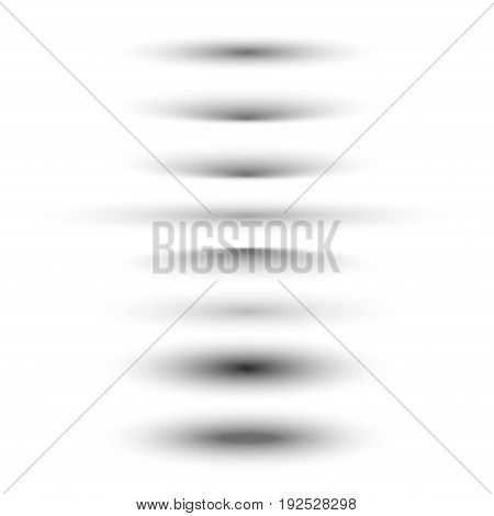 Oval shadow dividers isolated on white. Vector realistic creative bottom shadow.
