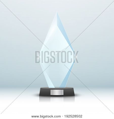 Glass trophy award isolated. Vector blank award on bright background. Crystal glossy design winner.