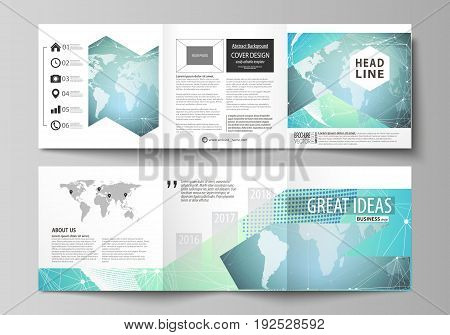 The minimalistic vector illustration of the editable layout. Two modern creative covers design templates for square brochure or flyer. Chemistry pattern, molecule structure, geometric design background.