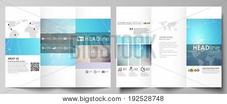 The minimalistic abstract vector illustration of the editable layout of two creative tri-fold brochure covers design business templates. Molecule structure. Science, technology concept. Polygonal design.