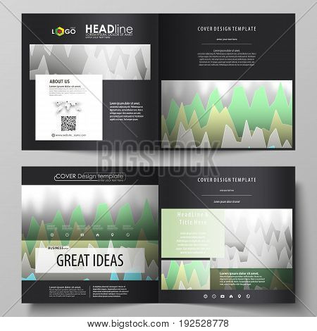 The black colored vector illustration of the editable layout of two covers templates for square design brochure, flyer, booklet. Rows of colored diagram with peaks of different height