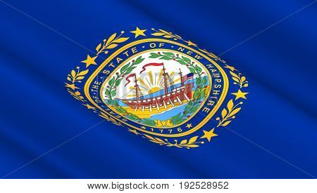 Waving flag of New Hampshire state. 3D illustration.